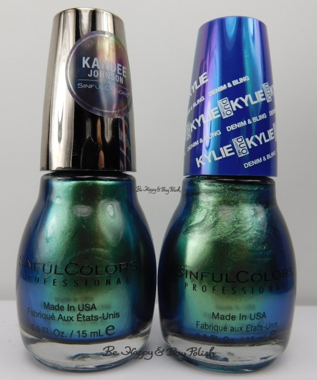 Sinful Colors Kandee Johnson Mermaid Tail compared to Kylie Jenner Kameleon bottle shot | Be Happy And Buy Polish