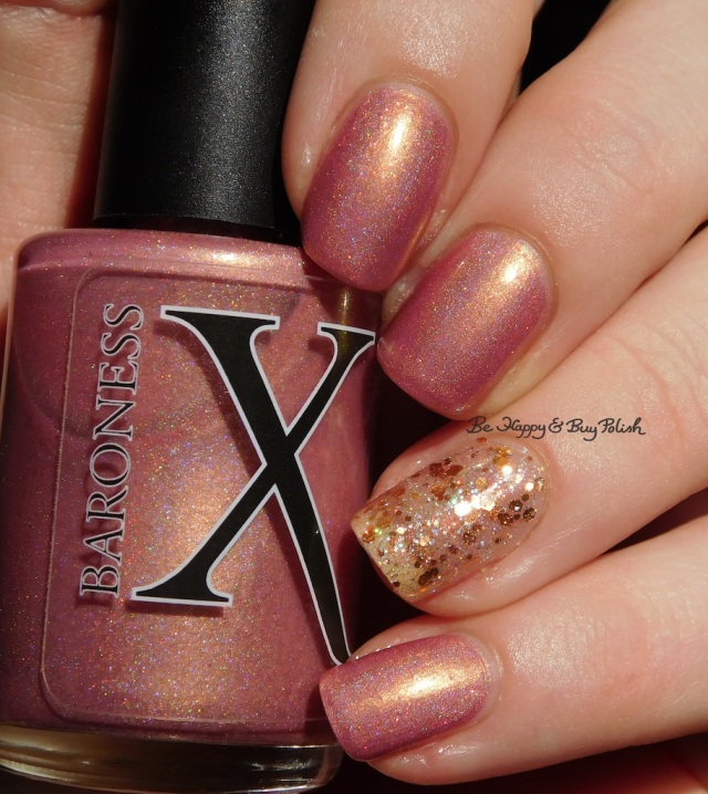 Baroness X Fire Opal over Baroness X Be Happy, CrowsToes Nail Color Buy Polish holographic | Be Happy And Buy Polish