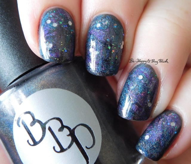 Galaxy Nail Art with Bad Bitch Polish Hera, Poseidon, Amethyst Andromeda, Dripping Icicles natural light | Be Happy And Buy Polish