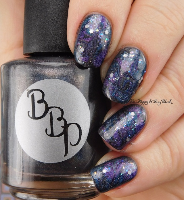 Galaxy Nail Art with Bad Bitch Polish Hera, Poseidon, Amethyst Andromeda, Dripping Icicles | Be Happy And Buy Polish