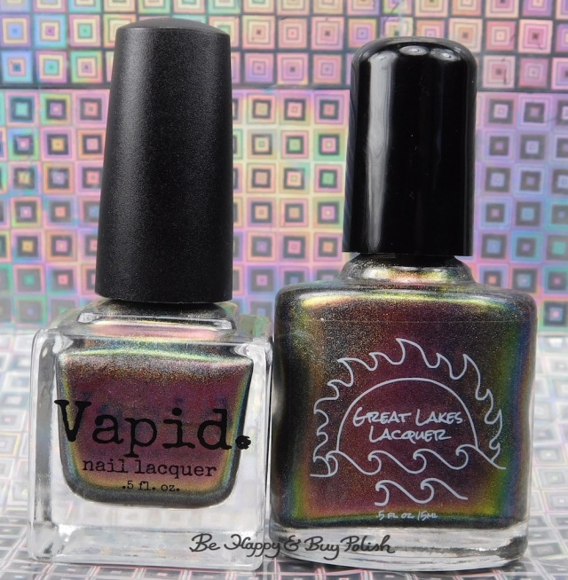 Great Lakes Lacquer The Centre Cannot Hold versus Vapid Lacquer Cyber Punk bottle shot | Be Happy And Buy Polish