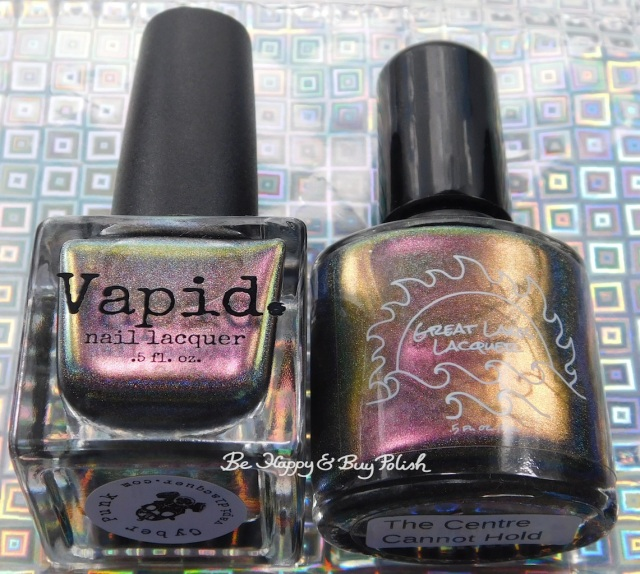 Great Lakes Lacquer The Centre Cannot Hold versus Vapid Lacquer Cyber Punk pink shift bottle shot | Be Happy And Buy Polish