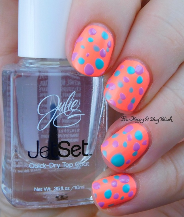 JulieG Bikini, Tropical, Dream in Pretty polka dot nail art | Be Happy And Buy Polish