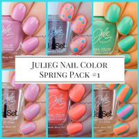 JulieG Spring 2017 3-pack: Tropical, Bikini, Dream In Pretty + Easy Nail Art (no tools required!)