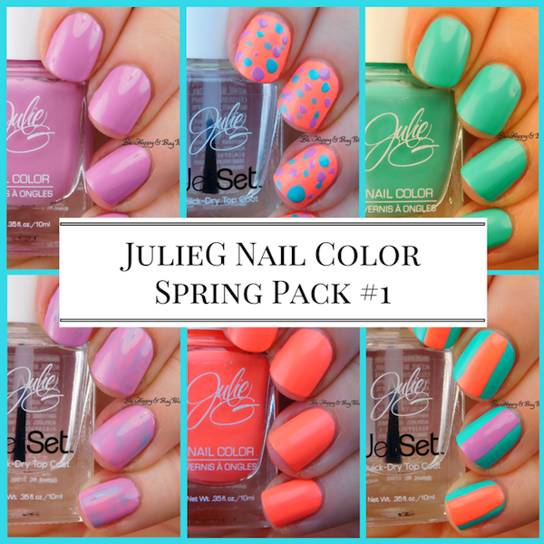 JulieG Nail Color Spring Pack #1 Dream In Pretty, Bikini, Tropical | Be Happy And Buy Polish