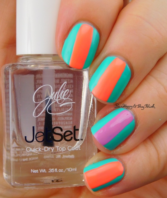 JulieG Tropical, Dream in Pretty, Bikini stripe nail art | Be Happy And Buy Polish