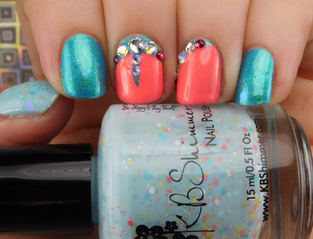 KBShimmer Salt Water Sassy, Parrot Polish Blue Macaw, China Glaze Bite Me, CrowsToes Nail Color Sweet As Sugar Cold As Ice | Be Happy And Buy Polish