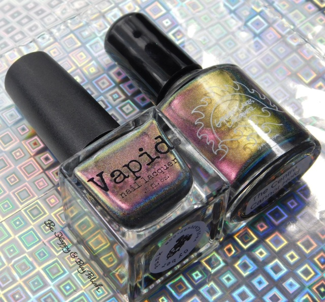 Vapid Lacquer Cyber Punk versus Great Lakes Lacquer The Centre Cannot Hold bottle shot | Be Happy And Buy Polish