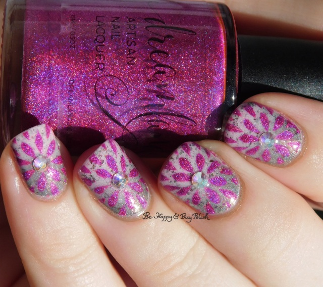 Crystal Parade AB Jelly nail gem, Dreamland Lacquer HHC Dragonberry II, Polished Vino Delicate Dahlia, Girly Bits Cosmetics Steely Resolution and In One Year and Out the Other holographi | Be Happy And Buy Polish