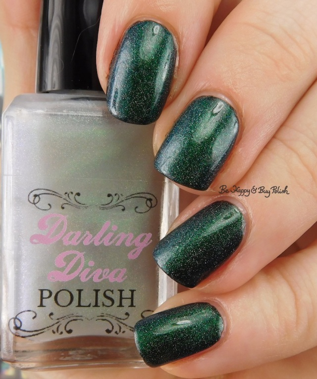 Darling Diva Polish Dragon Pee holo over black | Be Happy And Buy Polish