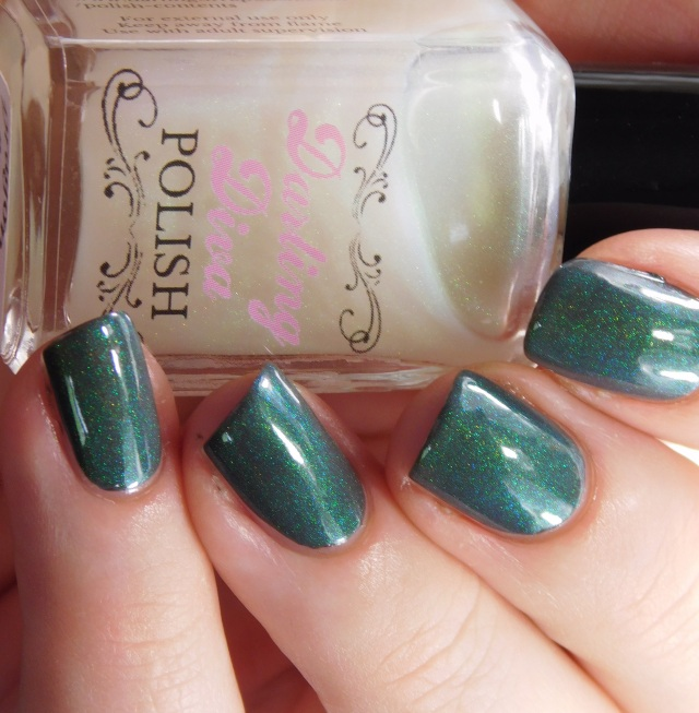 Darling Diva Polish Dragon Pee over grey green teal shift | Be Happy And Buy Polish