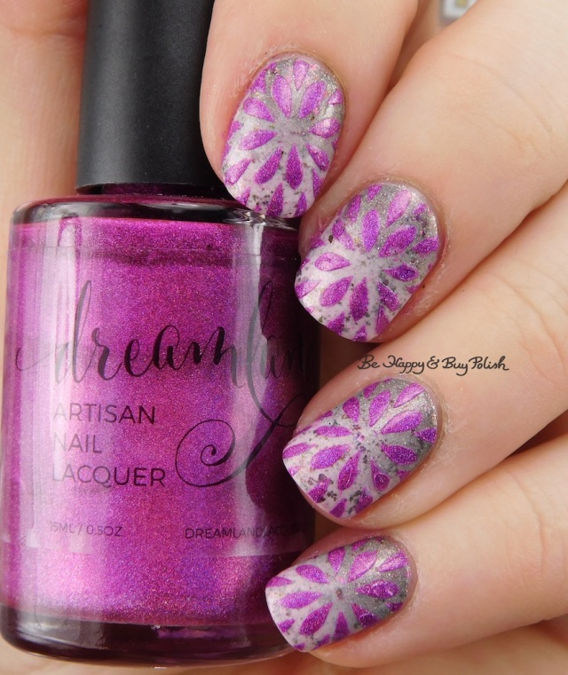 Dreamland Lacquer HHC Dragonberry II, Polished Vino Delicate Dahlia, Girly Bits Cosmetics Steely Resolution and In One Year and Out the Other gradient | Be Happy And Buy Polish