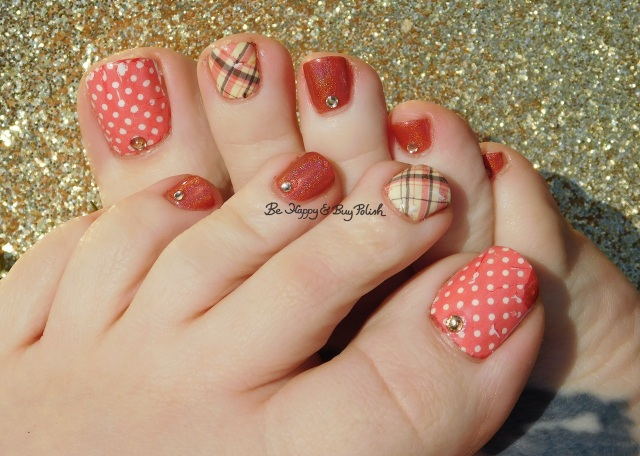 pedicure KBShimmer water slide plaid and polka dot decals, Bad Bitch Polish Little Bird | Be Happy And Buy Polish