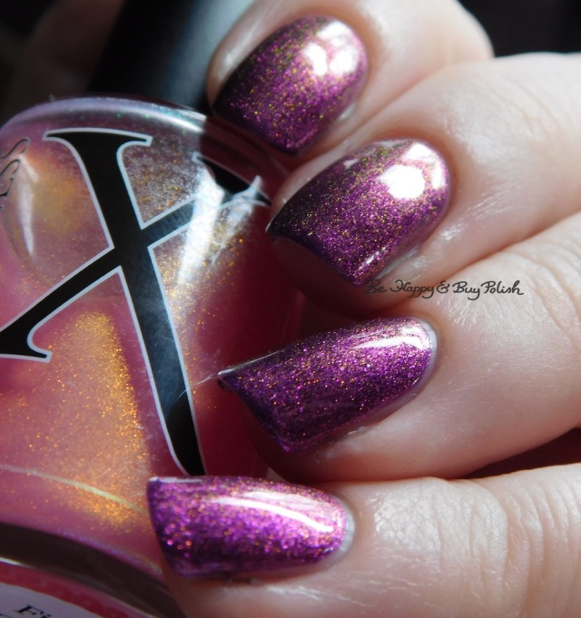 Baroness X Fire Opal over Sephora by OPI What Film Noir You In? purple, red, green | Be Happy And Buy Polish