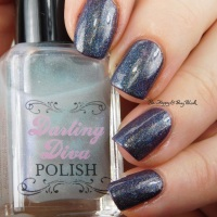 Pahlish Armor Falling Down + Darling Diva Polish Kelpie Pee holo manicure
