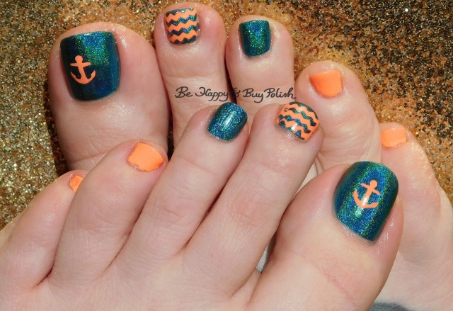 KBShimmer Up and Cunning, Fancy Gloss Coral Dreams anchor and waves nautical pedicure | Be Happy And Buy Polish