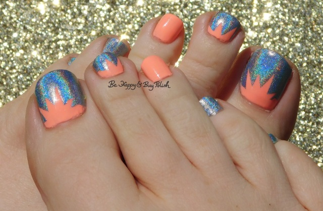Color Club Blue Heaven, East Austin holographic sunburst pedicure | Be Happy And Buy Polish