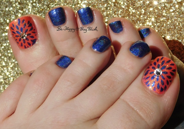 flower pedicure with CrowsToes Nail Color Phantasm and Femme Fatale Cosmetics Dollface | Be Happy And Buy Polish