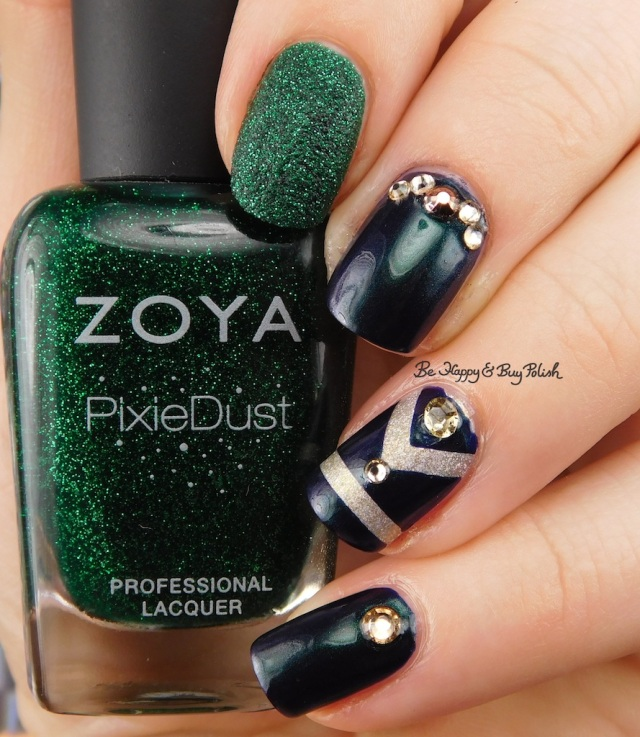 Zoya Elphie, Zoya Alicia, Zoya Olivera, Darling Diva Polish Fairy Pee holo art deco nail art | Be Happy And Buy Polish