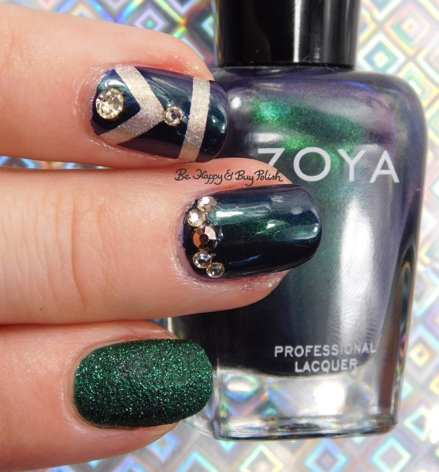 Zoya Olivera, Zoya Elphie, Zoya Alicia, Darling Diva Polish Fairy Pee holo art deco nail art | Be Happy And Buy Polish