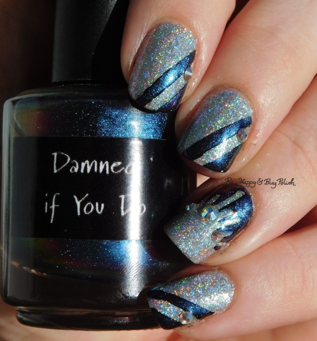 CrowsToes Damned If You Do, ILNP Spring Bouquet striped mani blue holographic | Be Happy And Buy Polish