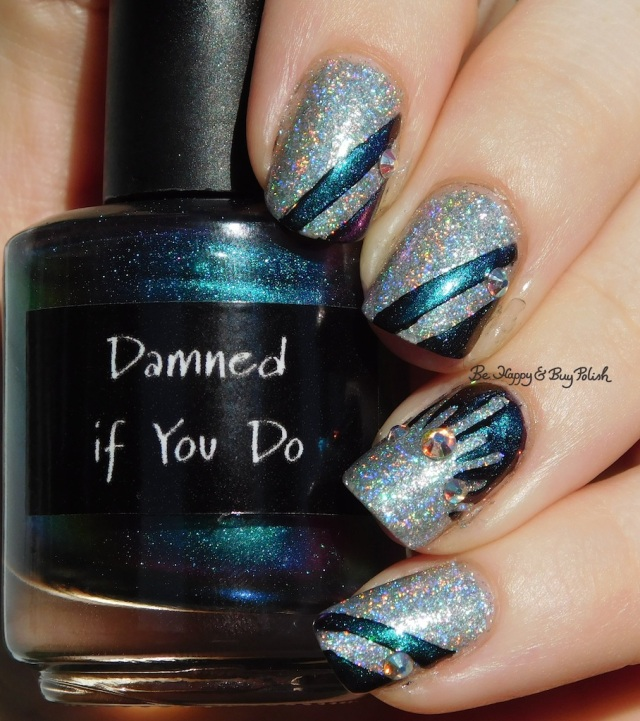 CrowsToes Damned If You Do, ILNP Spring Bouquet striped mani green holographic | Be Happy And Buy Polish