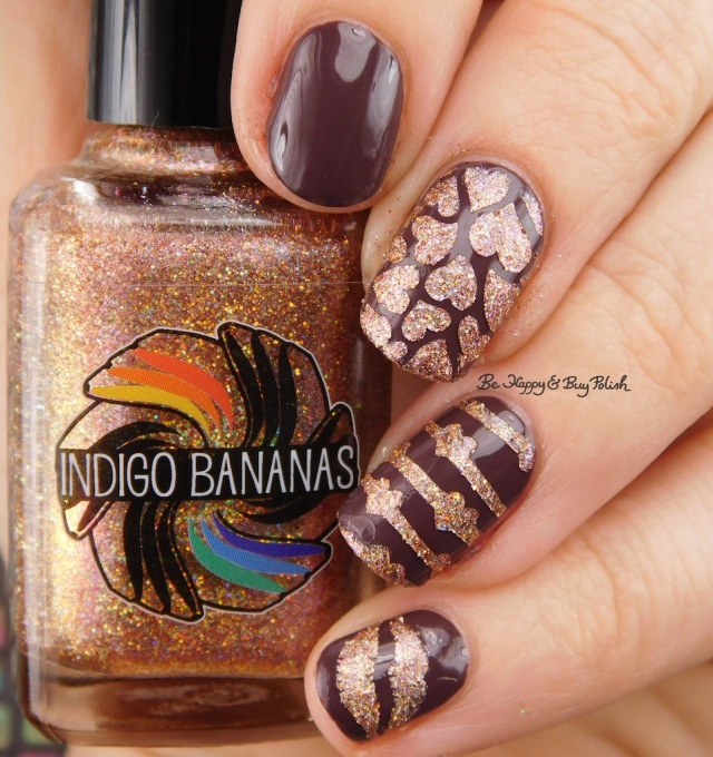 Indigo Bananas Sequins of Events, Julie G Henna hearts and kisses manicure | Be Happy And Buy Polish