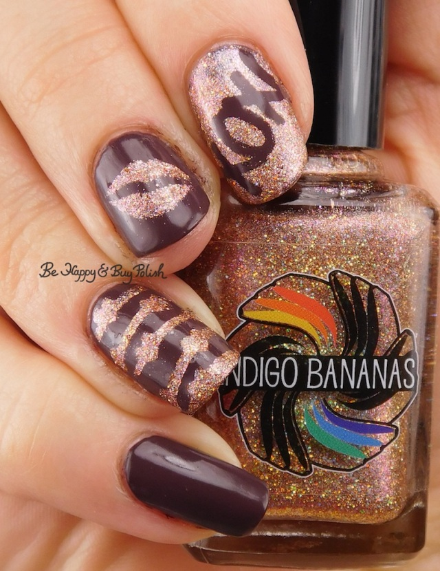 Indigo Bananas Sequins of Events, Julie G Henna kisses and hearts manicure | Be Happy And Buy Polish