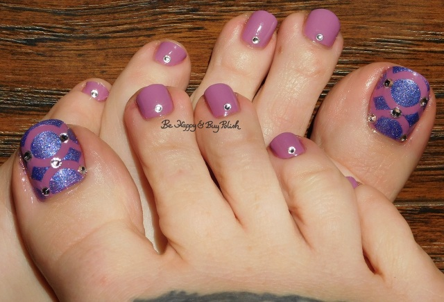 Julie G Harmony, Zoya Pixie Dust Alice, Crystal Parade nail gems, Polished Vino Silhouttes vinyls pedicure | Be Happy And Buy Polish