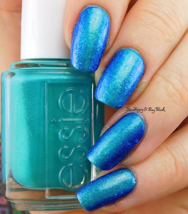 essie Viva Antigua!, Bad Bitch Polish Blue My Mind vertical gradient topped with Darling Diva Mermaid Pee | Be Happy And Buy Polish
