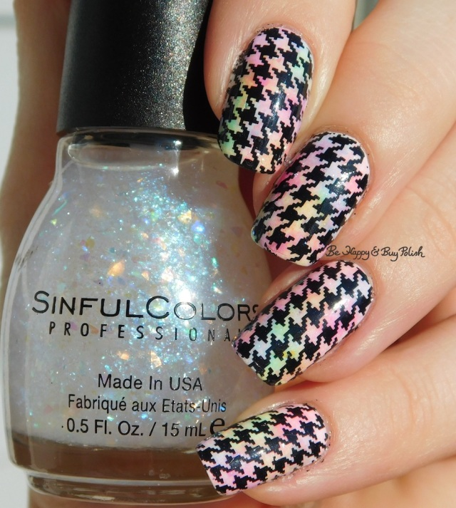Sinful Colors Color Eccentric neons sponged manicure, Flame Game, houndstooth water slide decals sun photo | Be Happy And Buy Polish