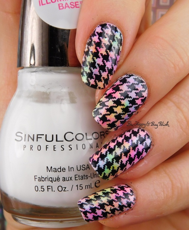 Sinful Colors Color Eccentric neons sponged manicure, Flame Game, houndstooth water slide decals | Be Happy And Buy Polish