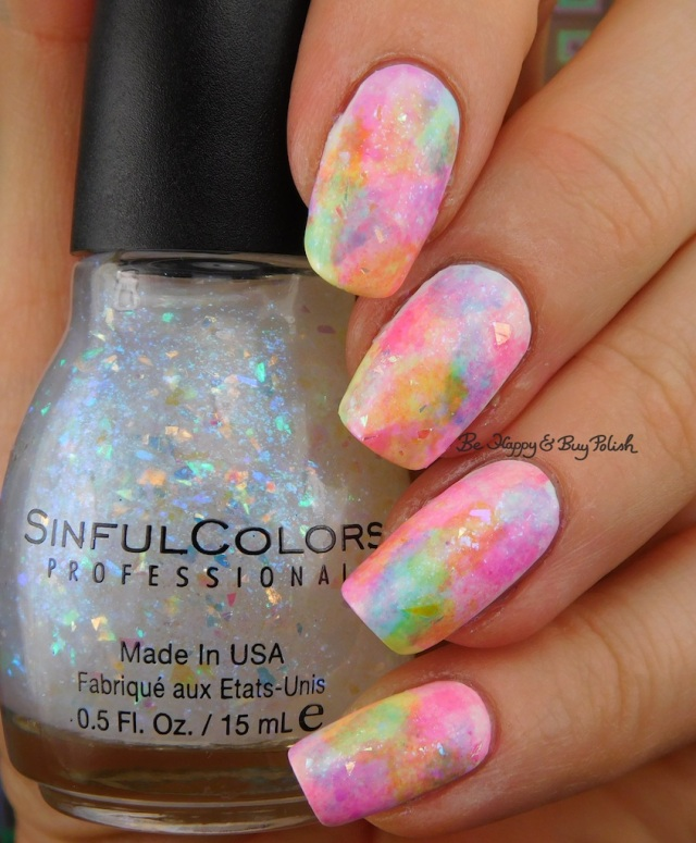Sinful Colors Color Eccentric neons sponged manicure topped with Flame Game | Be Happy And Buy Polish
