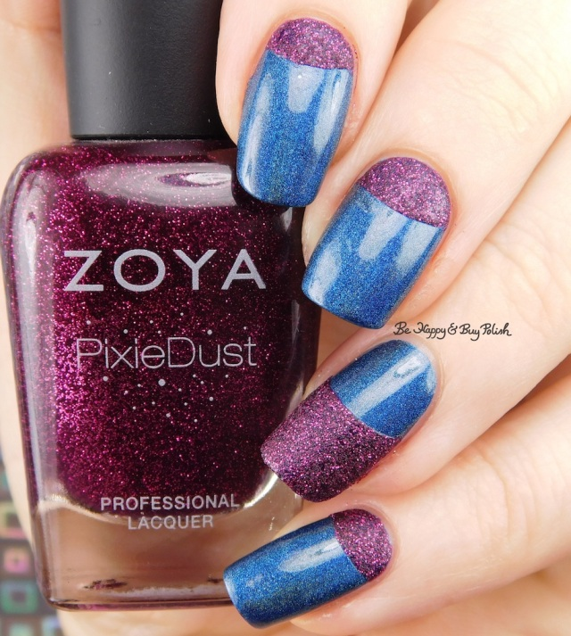 Zoya Pixie Dust Lorna, Bad Bitch Polish Blue Moon half moon manicure | Be Happy And Buy Polish