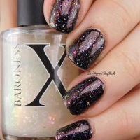 Manicure with Hot Topic Black Heart black holographic, CrowsToes, and Baroness X