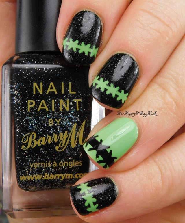 Barry M Black Multi Glitter, Bad Bitch Polish No Tricks frankenstein nail art | Be Happy And Buy Polish