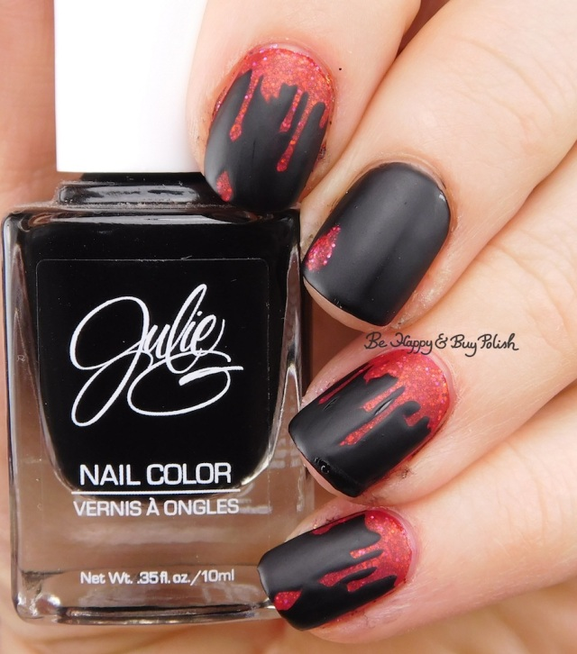 JulieG Black Sheep, Baroness X Magma, Pahlish Pianos Filled with Flames blood drip nail art matte version | Be Happy And Buy Polish