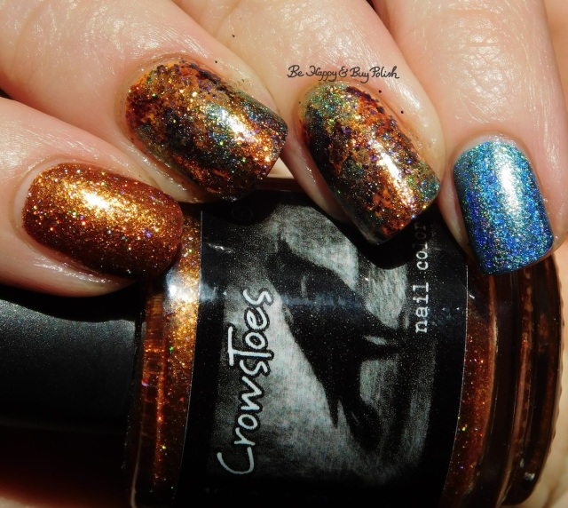 CrowsToes Nail Color Buck You, An Edgy Ocean Dream, Polish 'M Tangelo, China Glaze Howl You Doin holographic | Be Happy And Buy Polish