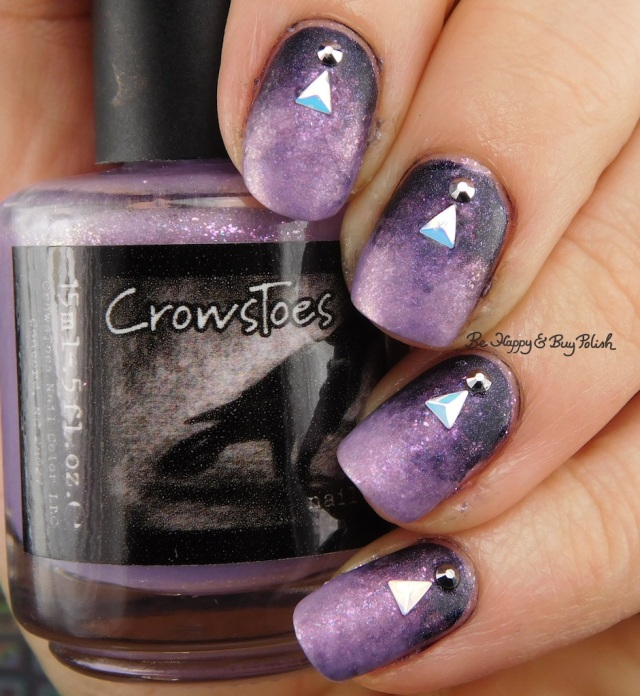 CrowsToes Nail Color Sweet Evil, Darkhearted gradient with matte top coat, Crystal Parade Light Chrome nail gems, Nicole Diary iridescent triangles | Be Happy And Buy Polish