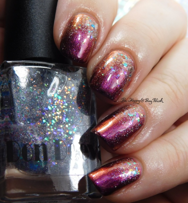 Don Deeva Varnish Silvia Sylveon Bernstein over Glocks and PopRocks orange to pink to purple shift | Be Happy And Buy Polish