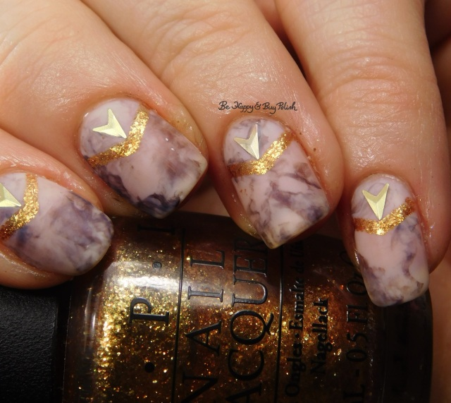 OPI Goldeneye, Don't Burst My Bubble, Germanicure marble nail art close up | Be Happy And Buy Polish