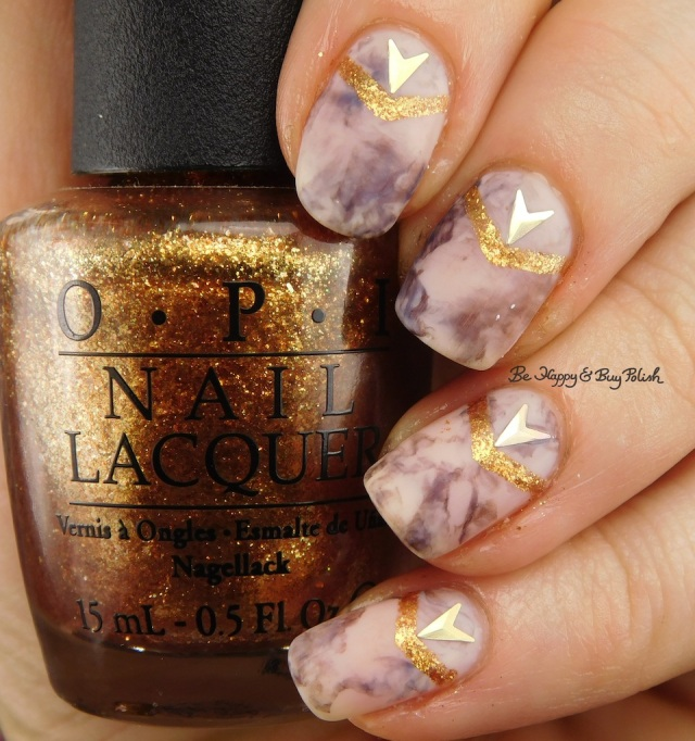 OPI Goldeneye, Don't Burst My Bubble, Germanicure marble nail art | Be Happy And Buy Polish