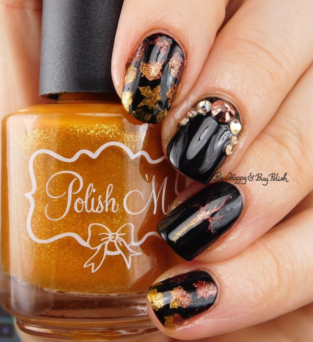 Polish 'M Amber Flame, Brandy Dazzle, Glitter Gal Serpent Black, fall leaf manicure | Be Happy And Buy Polish