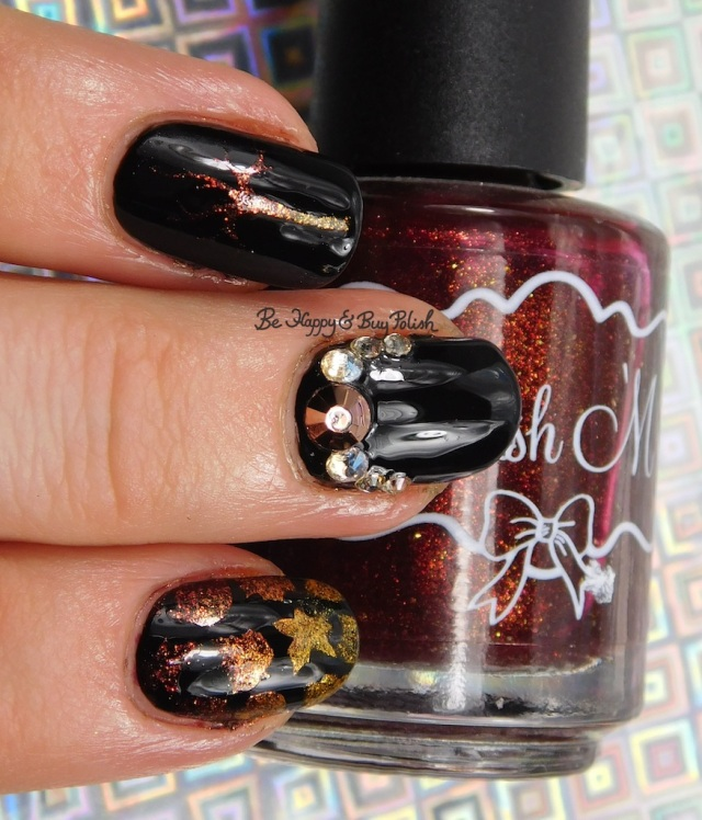 Polish 'M Brandy Dazzle 2, Amber Flame, Glitter Gal Serpent Black, fall leaf manicure | Be Happy And Buy Polish
