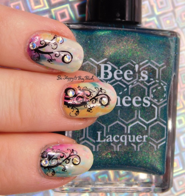 Studded Flowery Vine nail art manicure with Bees Knees Lacquer, Polish 'M, Dreamland Lacquer | Be Happy And Buy Polish