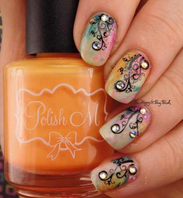 Studded Flowery Vine nail art manicure | Be Happy And Buy Polish