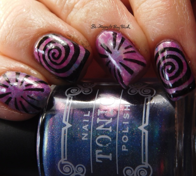 Tonic Polish Sophia 2017, Polish 'M This Game is Rigged!, Bad Bitch Polish Crabapple smoosh manicure with swirls color shift | Be Happy And Buy Polish