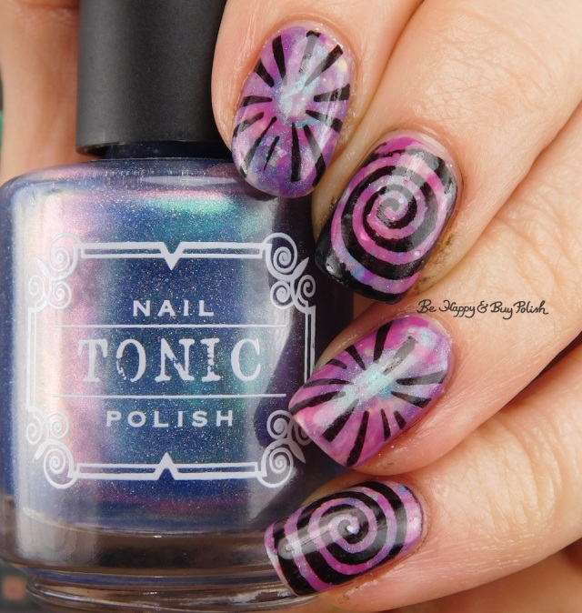 Tonic Polish Sophia 2017, Polish 'M This Game is Rigged!, Bad Bitch Polish Crabapple smoosh manicure with swirls | Be Happy And Buy Polish