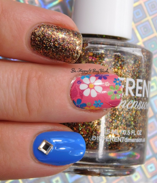 Different Dimension Go Pluck Yourself, Polish 'M Denim, KBShimmer flower water slide decal | Be Happy And Buy Polish