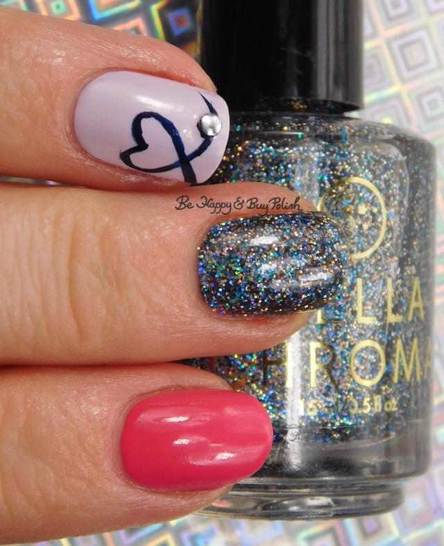 heart nail art with Stella Chroma Karavaki, Sally Hansen Midnight Drive, Watermelon Wizz, Heather Hues | Be Happy And Buy Polish